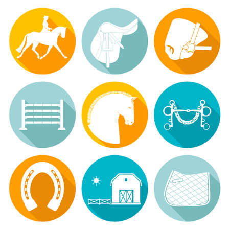 bridle: Detailed set of equestrian icons. Modern flat horseriding icons, including saddle, bit, snaffle bit, stable with a fence, horse, horseshoe and an obstacle.