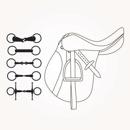 stirrup: Horseback riding elements - saddle and different types of bits or snaffles. Horse supplies vector. Equine illustration. Illustration