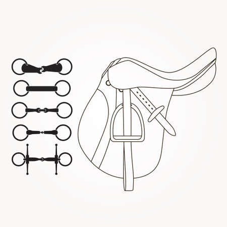 Horseback riding elements - saddle and different types of bits or snaffles. Horse supplies vector. Equine illustration. Ilustração