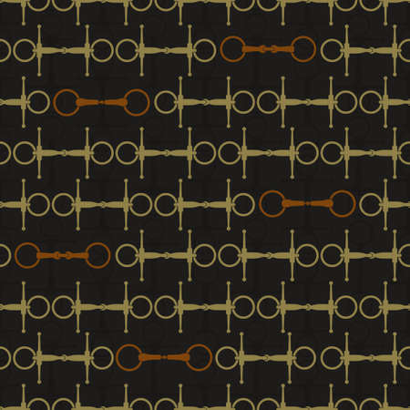 Vintage equine background with saddles and bits. Perfect equine seamless texture made in vector. Horseriding design. Horse supplies. Stock Illustratie