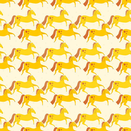 illustration editable: Beautiful seamless pattern with horse silhouettes. Perfect dressage event texture made in orange, yellow and blue colors on beige backgroound. Animal texture drwn in vector.
