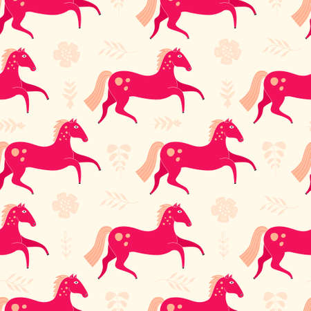 animal texture: Beautiful seamless pattern with horse silhouettes. Perfect dressage event texture made in orange, yellow and blue colors on beige backgroound. Animal texture drwn in vector.