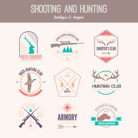 Hunting club label collecton made in vector. Shooting, prey, gun, antler, hunting dog, duck, taret, armore elements and labels design.