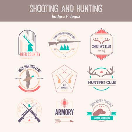 Jacht club label collecton gemaakt in vector. Schieten, prooi, pistool, gewei, jachthond, eend, taret, armore elementen en labels ontwerpen. Stock Illustratie