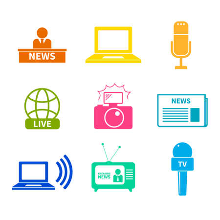 accreditation: Set of vector journalism icons. Modern flat symbols of journalism including computer, news, reporter, camera, accreditation, pencil and notebook. Illustration