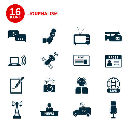 Set of vector journalism icons. Modern flat symbols of journalism including computer, news, reporter, camera, accreditation, pencil and notebook. Ilustracja