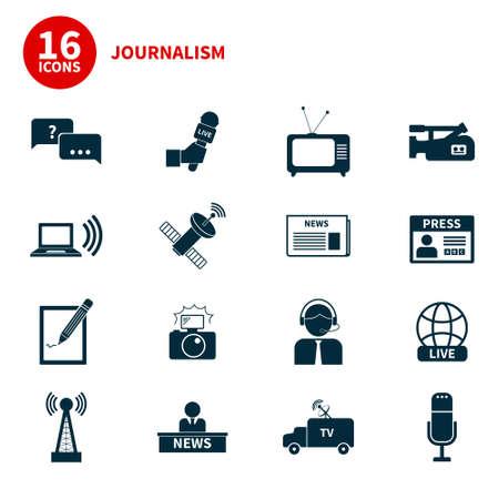 Set von Vektor-Icons Journalismus. Moderne Flach Symbole des Journalismus darunter Computer, Nachrichten, Reporter, Kamera, Akkreditierung, Bleistift und Notizbuch. Standard-Bild - 34220313