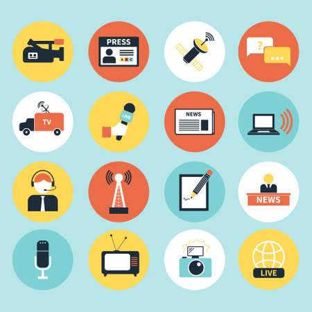 journalism: Set of vector journalism icons. Modern flat symbols of journalism including computer, news, reporter, camera, accreditation, pencil and notebook. Illustration