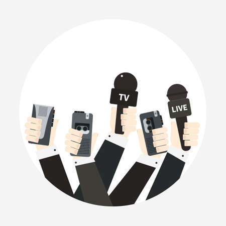 voice recorder: Journalism concept vector - set of hands holding microphones and voice recorders. Live news template. Press illustration.