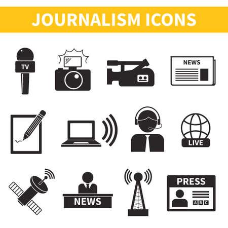 벡터 저널리즘 아이콘의 집합입니다. 컴퓨터, 뉴스, 기자, 카메라, 인증, 연필 좀 더 포함 저널리즘의 현대 평면 기호입니다. 일러스트