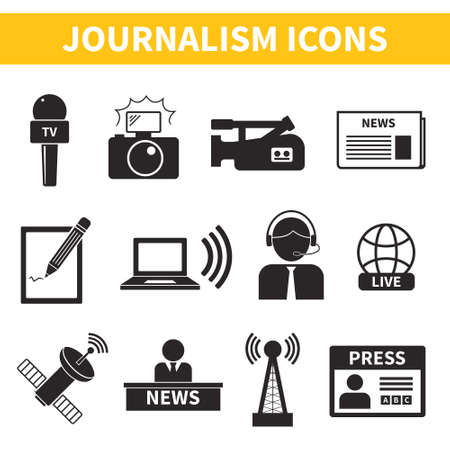 accreditation: Set of vector journalism icons. Modern flat symbols of journalism including computer, news, reporter, camera, accreditation, pencil and some more.