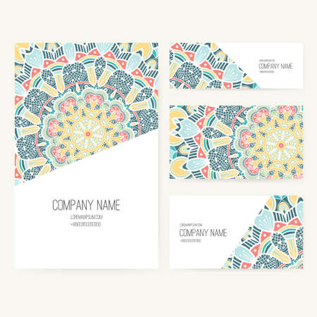 business cards: Set of business card and invitation card templates with lace ornament. Vector background. Indian, Arabic, Islam motifs. Vintage design elements. Wedding or save the date hand drawn background. Illustration