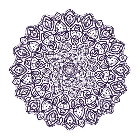 Mandala -round vector ornament. Traditional indian symbol. Geometric circle element. Hand drawn vintage spiritual and meditation icon. Graphic template for your design. Isolated on white background. Vector