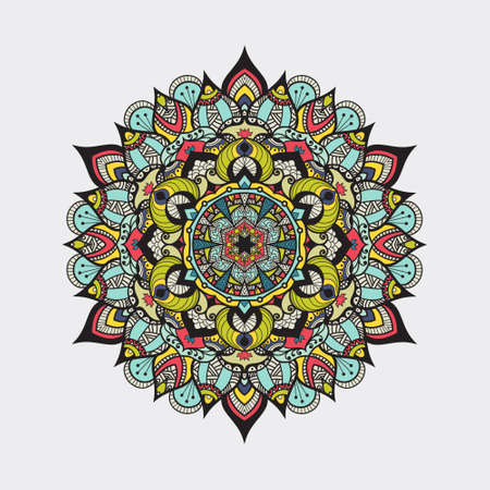 meditation isolated white: Mandala -round vector ornament. Traditional indian symbol. Geometric circle element. Hand drawn vintage spiritual and meditation icon. Graphic template for your design. Isolated on white background.