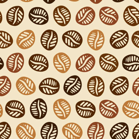 Perfect texture with coffee beans. Texture with coffee made in brown colors can be used for menu, background, card template, business card or for website. Hand drawn coffee pattern made in vector.