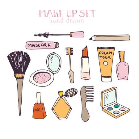 Hand drawn set of make up - mascara, tonal cream, shadows, lipstick, nail polish, etc. Perfect beauty vector illustration.