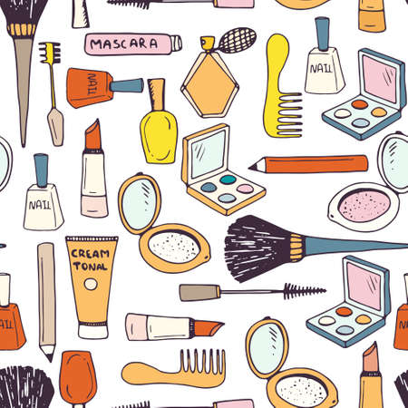 lip gloss: Hand drawn seamless pattern with different make up accessories - eye shadow, lipstick, mascara, brush, powder, perfume, etc. Vector beauty background.