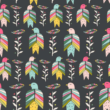 web site background: Beautiful hand drawn seamless pattern with birds and flowers made in vector. Texture can be used for web site background, on banners, invitations and on your other designs.