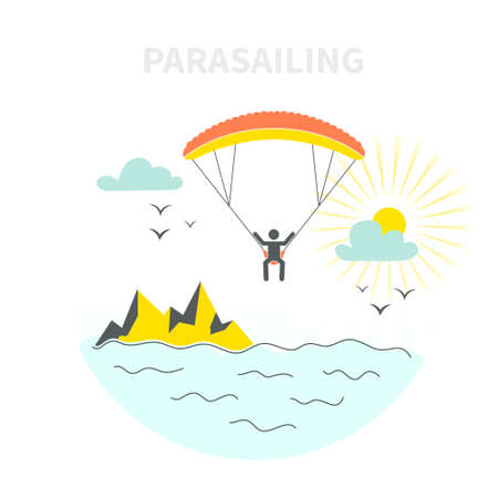 kiting: Parasailing vector flar concept - main flying above the sea or and ocean in the air on parachute or parasail wing. Holiday outdoor activity Illustration