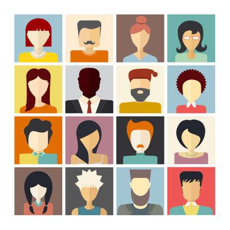 mannen en vrouwen: Set van platte mensen iconen. Verschillende gezichten van de mensen voor avatar, profielpagina, voor app of web design in moderne vlakke stijl. Vector mannen, vrouwen karakters.