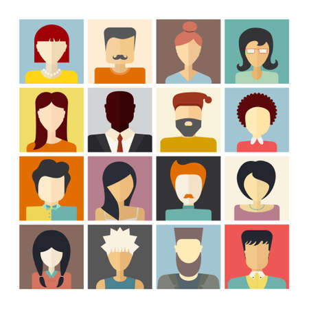 Set of flat people icons. Different faces of people for avatar, profile page, for app or web design made in modern flat style. Vector men, women characters.