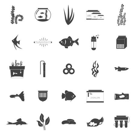 Set of modern flat aquarium icons - fish tanks, fish types, aquarium plants and decor. Aquarium supplies, maintenance, starter kit symbols. Pet shop illustration. Vector