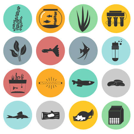 freshwater aquarium plants: Set of modern flat aquarium icons - fish tanks, fish types, aquarium plants and decor. Aquarium supplies, maintenance, starter kit symbols. Pet shop illustration.