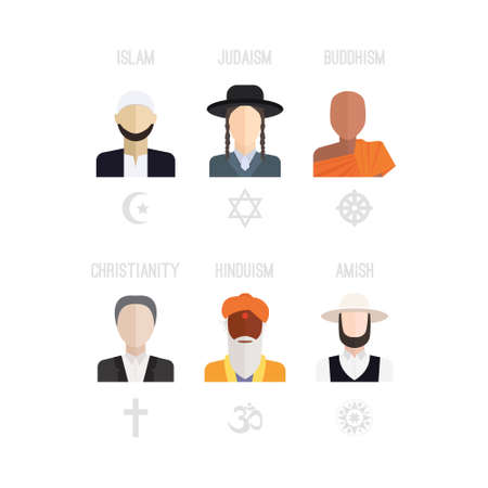 jews: People of different religion in traditional clothing. Islam, judaism, buddhism, christianity, hinduism, amish. Religion vector symbols and characters.
