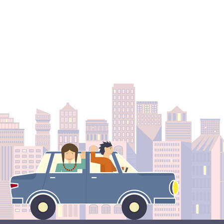 roadtrip: Illustration of family going on the road trip by car with modern buildings on the background. Road trip adventure flat vector graphic. Travel by car.