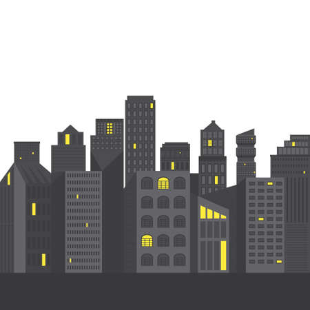 business buildings: Modern flat illustration of a city. Cityscape concept. Business buildings made in vector.