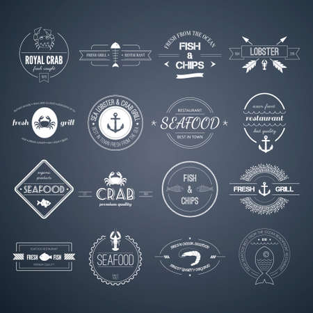 Perfect set of seafood  Vector