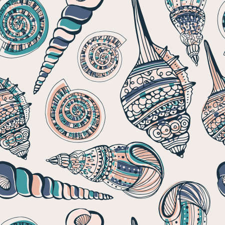 Perfect vintage vector seamless pattern with white seashells. Beautiful tropical background design  Cute fully editable illustration drawn in vector by hand. Vector