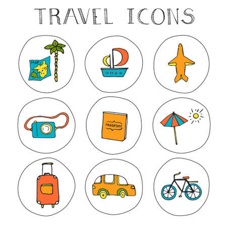 Vector set of hand drawn travel icons, including different types of transport and accessories. Vacation web illustrations. Vector