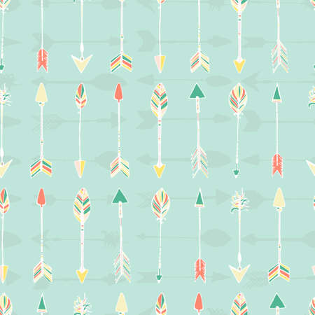 native american art: Ethnic colorful seamless pattern made in vecor. Texture with tribal indian hand drawn arrows. Native american background design. Illustration