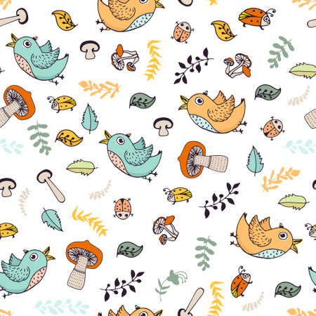 Cite doodle seamless forest background with birds, bugs, leaves and mushrooms. Vector