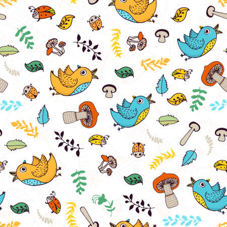 cite: Cite doodle seamless forest background with birds, bugs, leaves and mushrooms.
