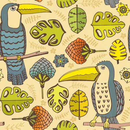 Beautiful hand drawn seamless pattern with tropical birds and flowers made in vector. Texture can be used for web site background, on banners, invitations and on your other designs. Vector