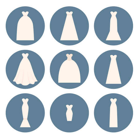 wedding dress silhouette: Different styles of wedding dresses made in modern flat vector style. Choose your perfect wedding dress for your body type. Bridal vector.