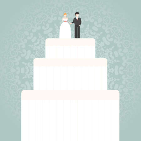boda pastel: Ilustraci�n de un pastel de boda - vector nupcial. Plantilla de la invitaci�n para una tarjeta o guardar la fecha. Postre dulce de la boda con la novia y el novio de pie encima.
