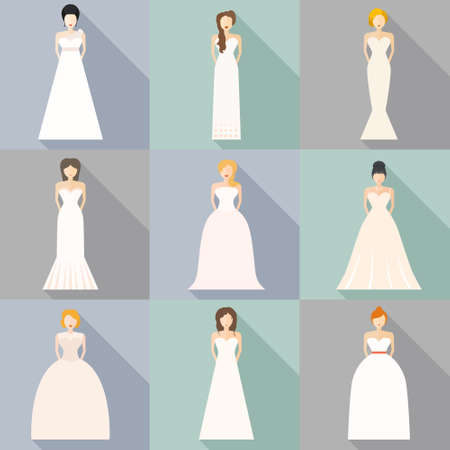 white dress: Brides in different styles of wedding dresses made in modern flat vector style. Choose your perfect wedding dress for your body type. Bridal vector. Illustration
