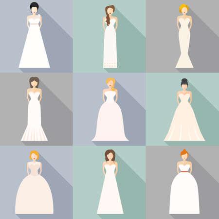 Bruiden in verschillende stijlen van de bruiloft jurken gemaakt in de moderne platte vector stijl. Kies uw perfecte trouwjurk voor je lichaam het type. Bruids vector. Stock Illustratie