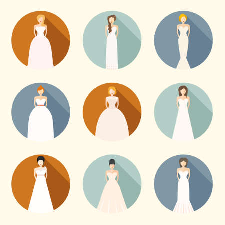 different types: Brides in different styles of wedding dresses made in modern flat vector style. Choose your perfect wedding dress for your body type. Bridal vector. Illustration