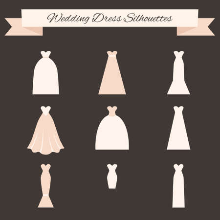 Different styles of wedding dresses made in modern flat vector style. Choose your perfect wedding dress for your body type. Bridal vector.