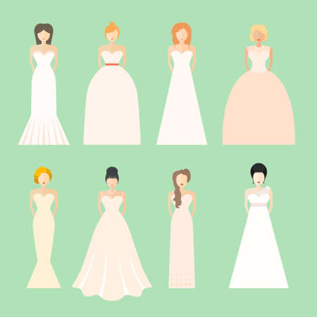 party outfit: Brides in different styles of wedding dresses made in modern flat vector style. Choose your perfect wedding dress for your body type. Bridal vector. Illustration