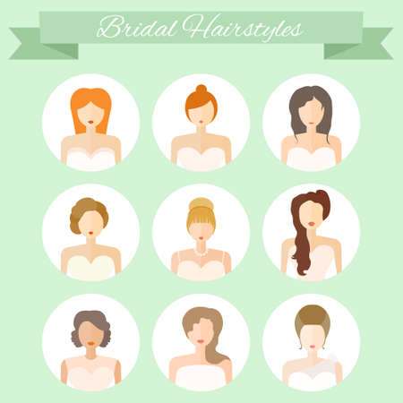 Hochzeitsfrisur - modernen Flach Ikonen der Hochzeitsmode. Junge Frauen mit verschiedenen Frisuren und Haar Kleider. Brautvektor.