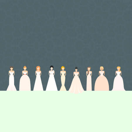 boutique: Brides in different styles of wedding dresses made in modern flat vector style. Choose your perfect wedding dress for your body type. Bridal vector. Illustration