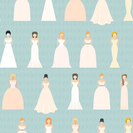wedding dress: Brides in different styles of wedding dresses seamless pattern, Bridal background. Wedding texture.
