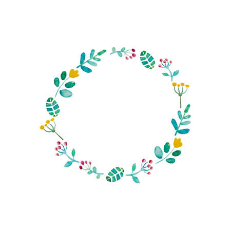 Hand paint frame of watercolor flowers made in vector. Perfect hand paint wreath for invitations, cards, DIY projects or for any other kind of design. Bright summer illustration.