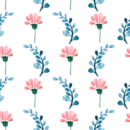 Floral watercolor seamless pattern. Beautiful vector hand drawn texture. Romantic background for web pages, wedding invitations, save the date cards. Watercolor vector. Vector
