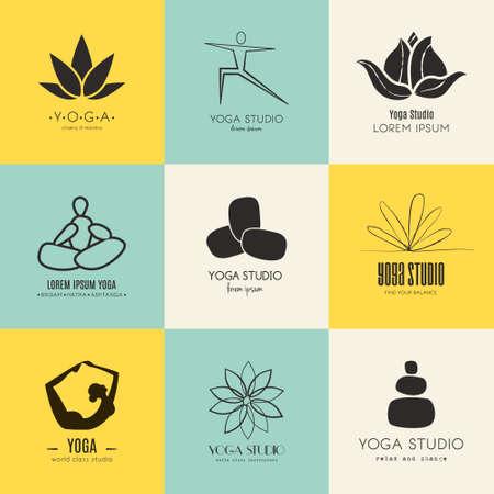 flor de loto: Conjunto de iconos para el estudio de yoga o una clase de meditaci�n. Vectores